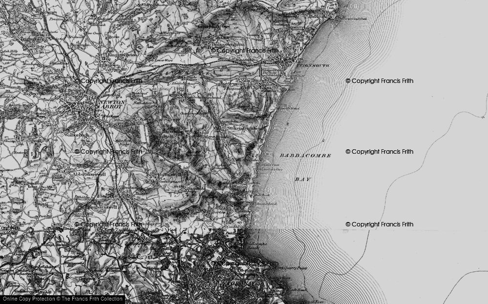 Old Map of Historic Map covering Babbacombe Bay in 1898