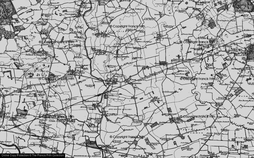 Old Map of Historic Map covering Aughton Common in 1898