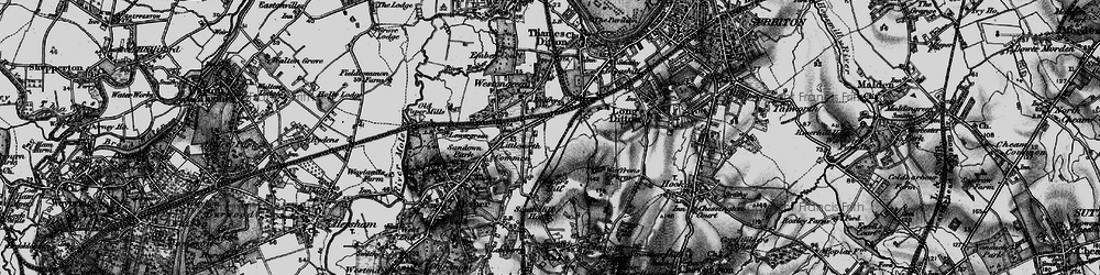 Old map of Hinchley Wood in 1896
