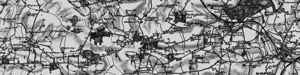 Old map of Hingham in 1898