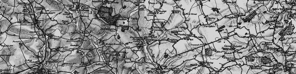 Old map of Wetherden Hall in 1896