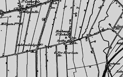 Old map of Whaplode St Catherine in 1898