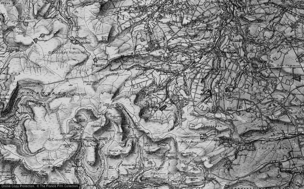Old Map of Historic Map covering Tooleyshaw Moss in 1896