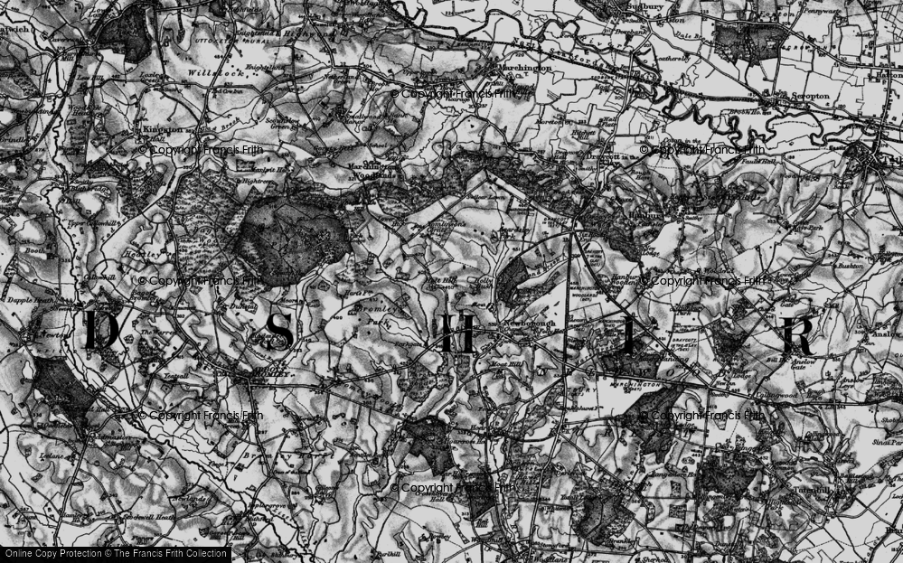 Old Map of Historic Map covering Tomlinson's Corner in 1897