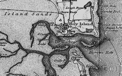 Old map of Holy Island in 1897