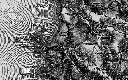 Old map of Holywell Bay in 1895