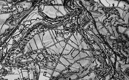 Old map of Honley in 1896