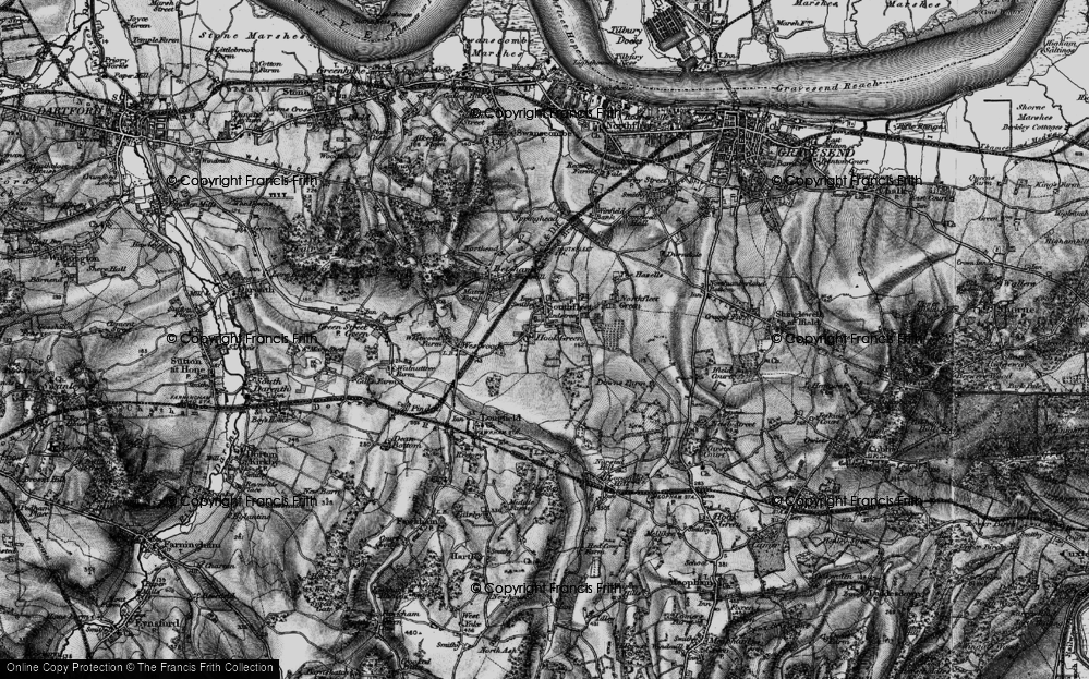 Old Map of Hook Green, 1895 in 1895