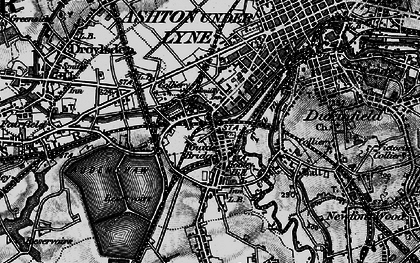 Old map of Audenshaw Resrs in 1896