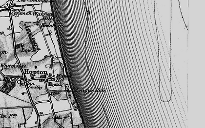 Old map of Hopton on Sea in 1898