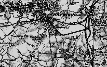 Old map of Lane End in 1896