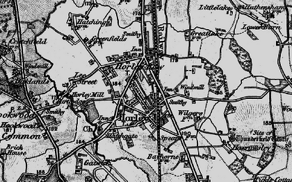 Old map of Horley in 1896