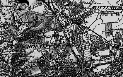 Old map of Hornsey in 1896