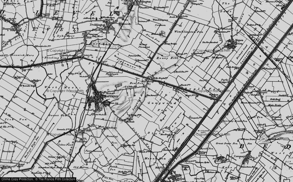 Old Map of Historic Map covering Langwood Hill in 1898