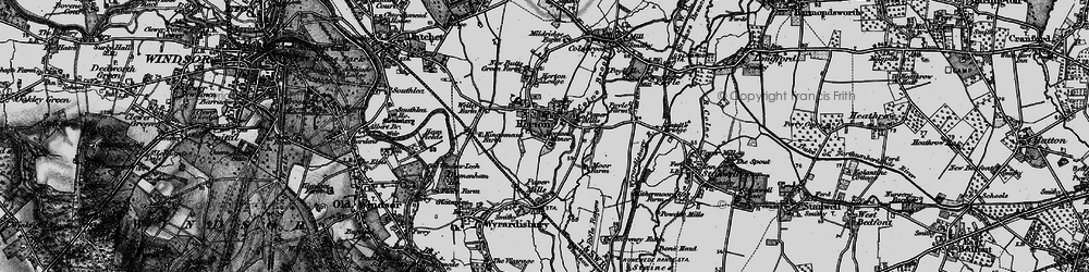 Old map of Wraysbury Reservoir in 1896