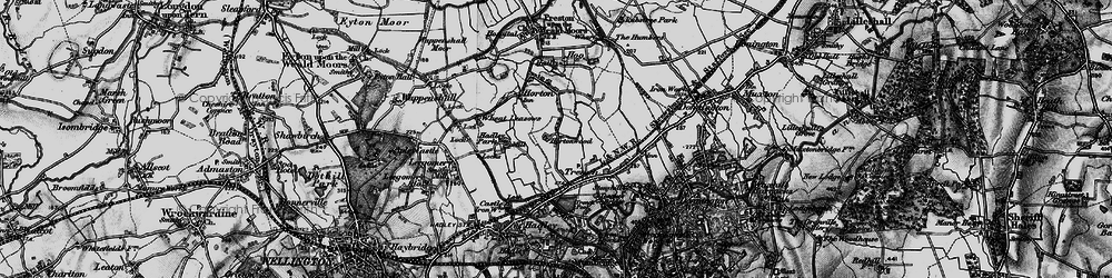 Old map of Wheat Leasows in 1899
