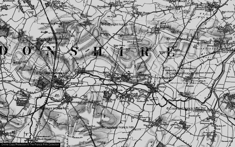 Old Map of Historic Map covering Wyton in 1898
