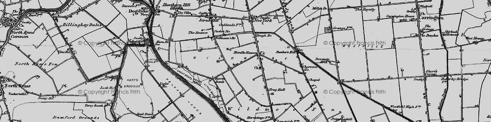 Old map of Wildmore Fen in 1898