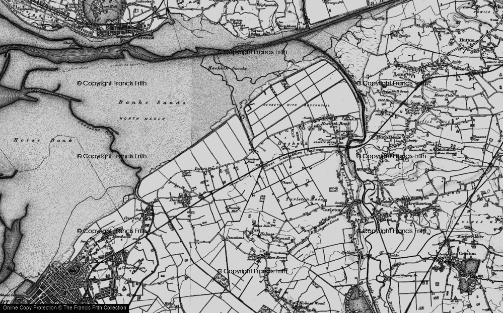 Old Map of Historic Map covering Banks Marsh in 1896