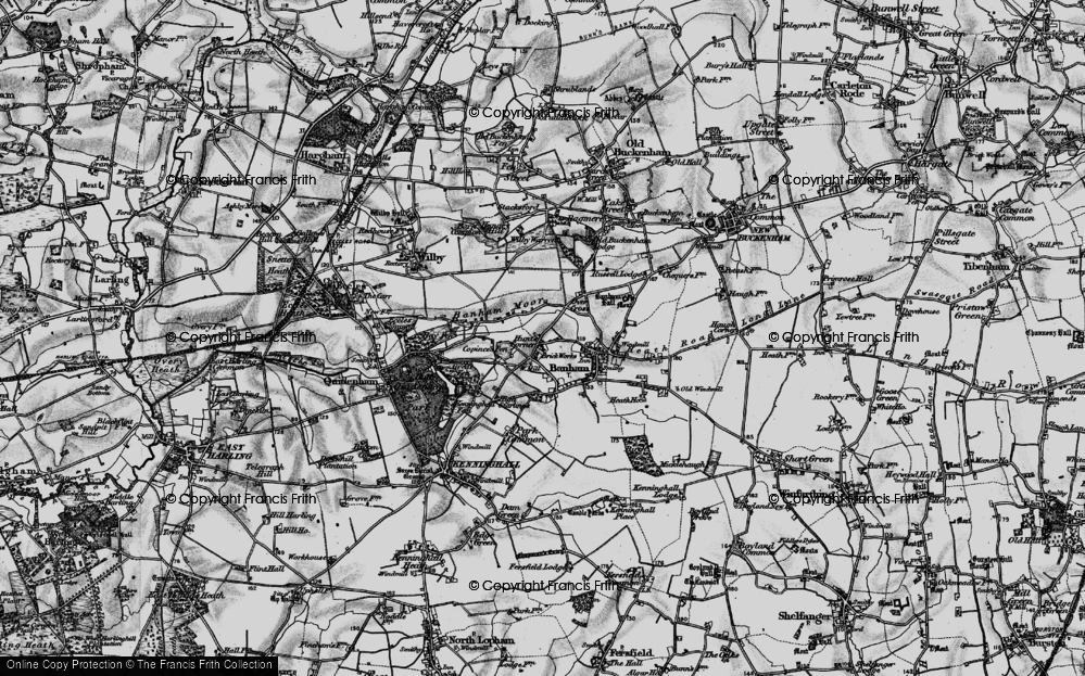Old Map of Historic Map covering Banham Moor in 1898