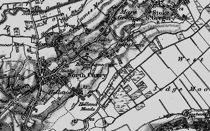 Old map of Sedgemoor Old Rhyne in 1898