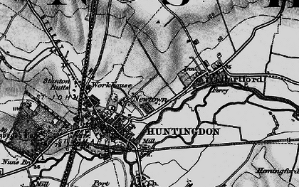 Old map of Huntingdon in 1898