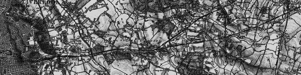 Old map of Huyton in 1896