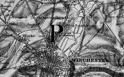 Old map of Abbotts Barton Ho in 1895