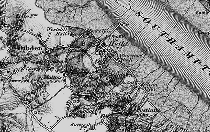 Old map of Hythe in 1895