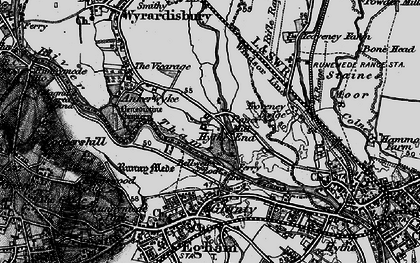 Old map of Wraysbury River in 1896