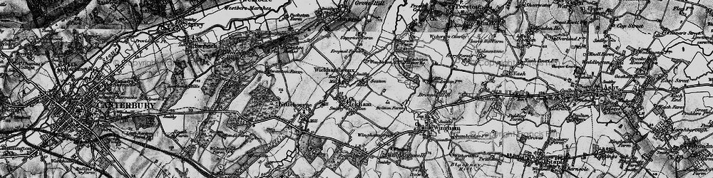 Old map of Ickham in 1895