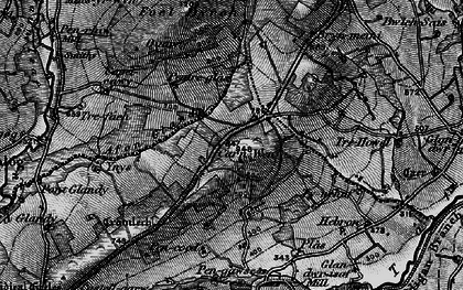 Old map of Afon Glandy in 1898