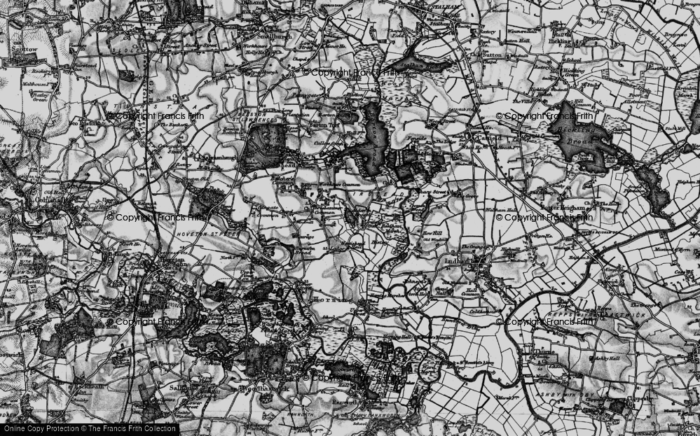 Old Map of Historic Map covering Alderfen Broad in 1898