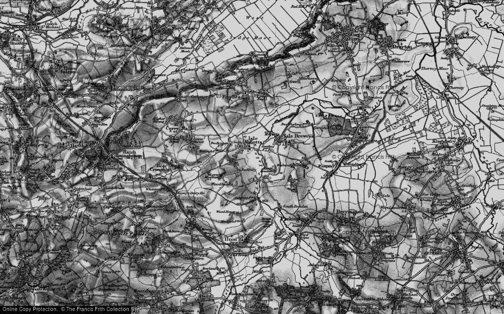 Old Map of Historic Map covering Badbury in 1898