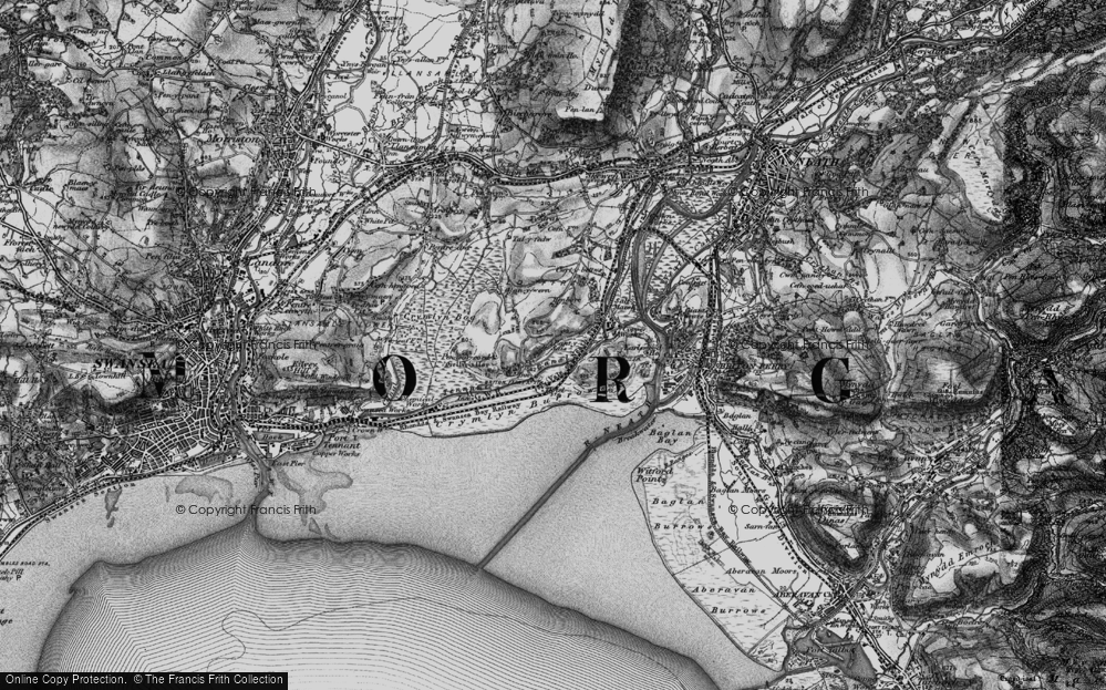 Old Map of Historic Map covering Baglan Bay in 1898