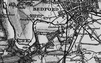 Old map of Kempston in 1896