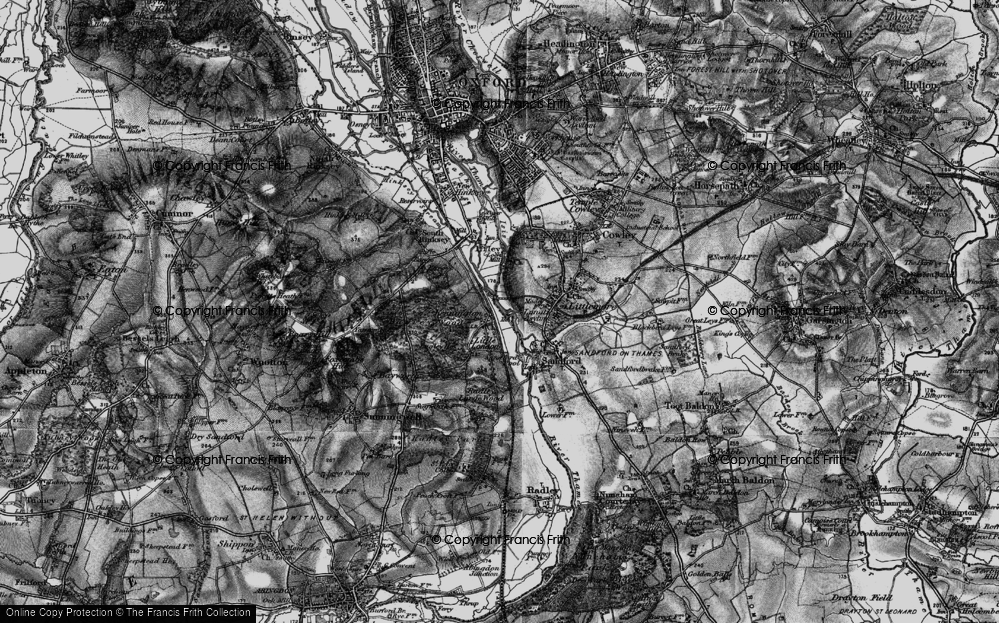 Old Map of Historic Map covering Bagley Wood in 1895