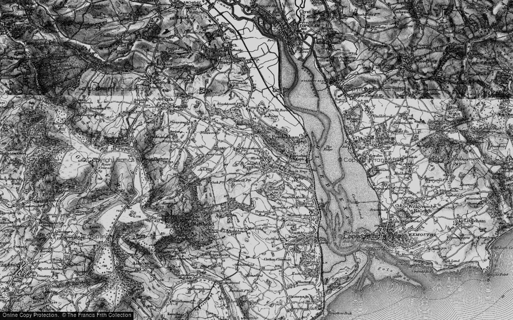 Old Map of Historic Map covering Mamhead Ho in 1898