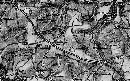 Old map of Kersbrook Cross in 1896