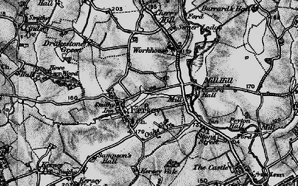Old map of Kersey in 1896