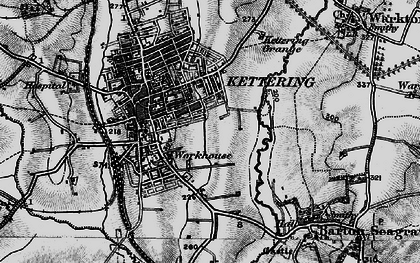 Old map of Kettering in 1898