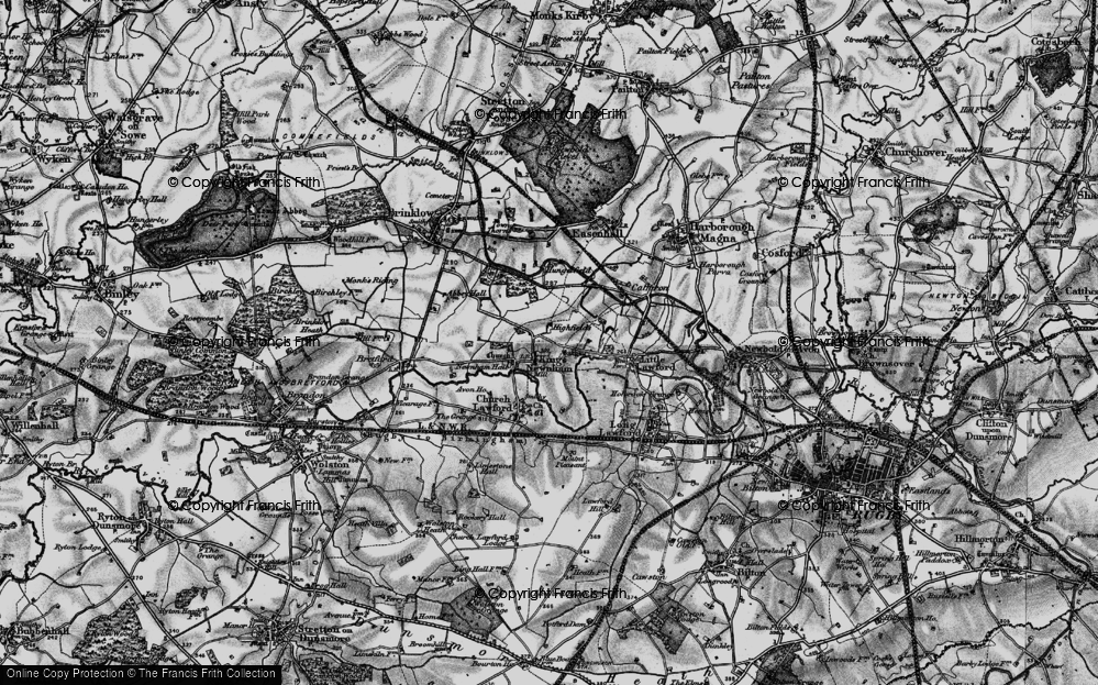 Old Map of Historic Map covering All Oaks Wood in 1899