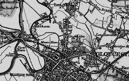 Old map of Alney Island in 1896
