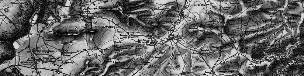 Old map of Whitecliff Down in 1898