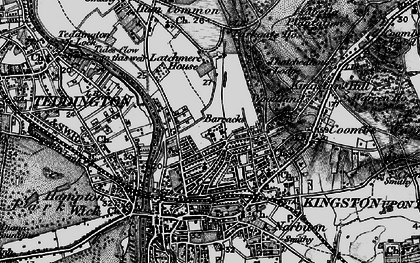 Old map of Kingston Upon Thames in 1896