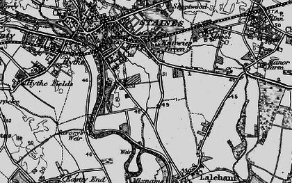 Old map of Penton Hook in 1896
