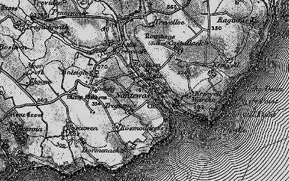Old map of Lamorna in 1895