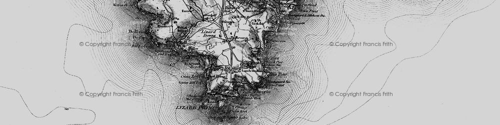 Old map of Landewednack in 1895