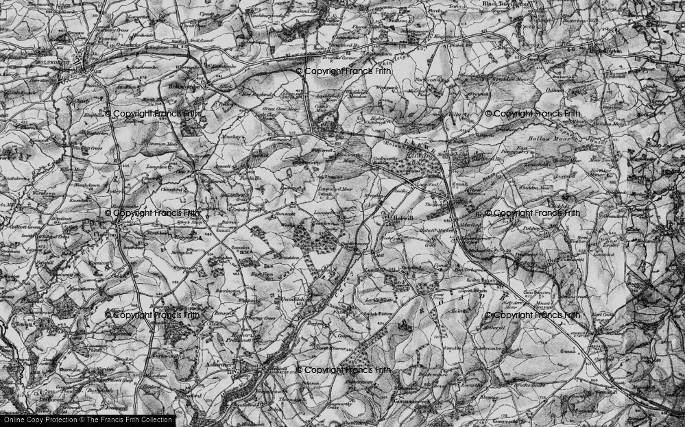 Old Map of Historic Map covering Langaford Moor in 1895