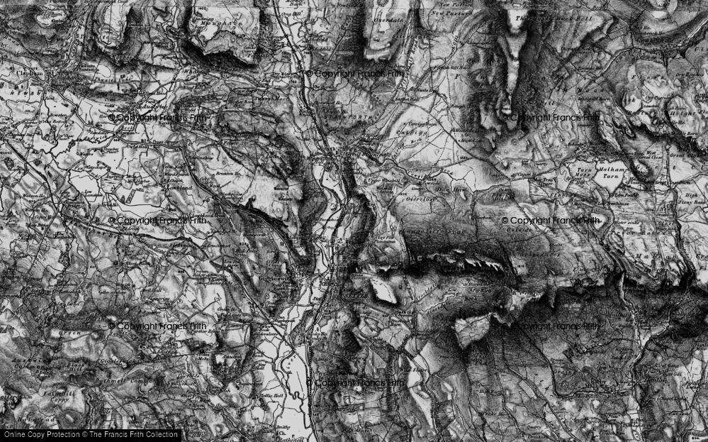 Old Map of Historic Map covering Attermire Cave in 1898